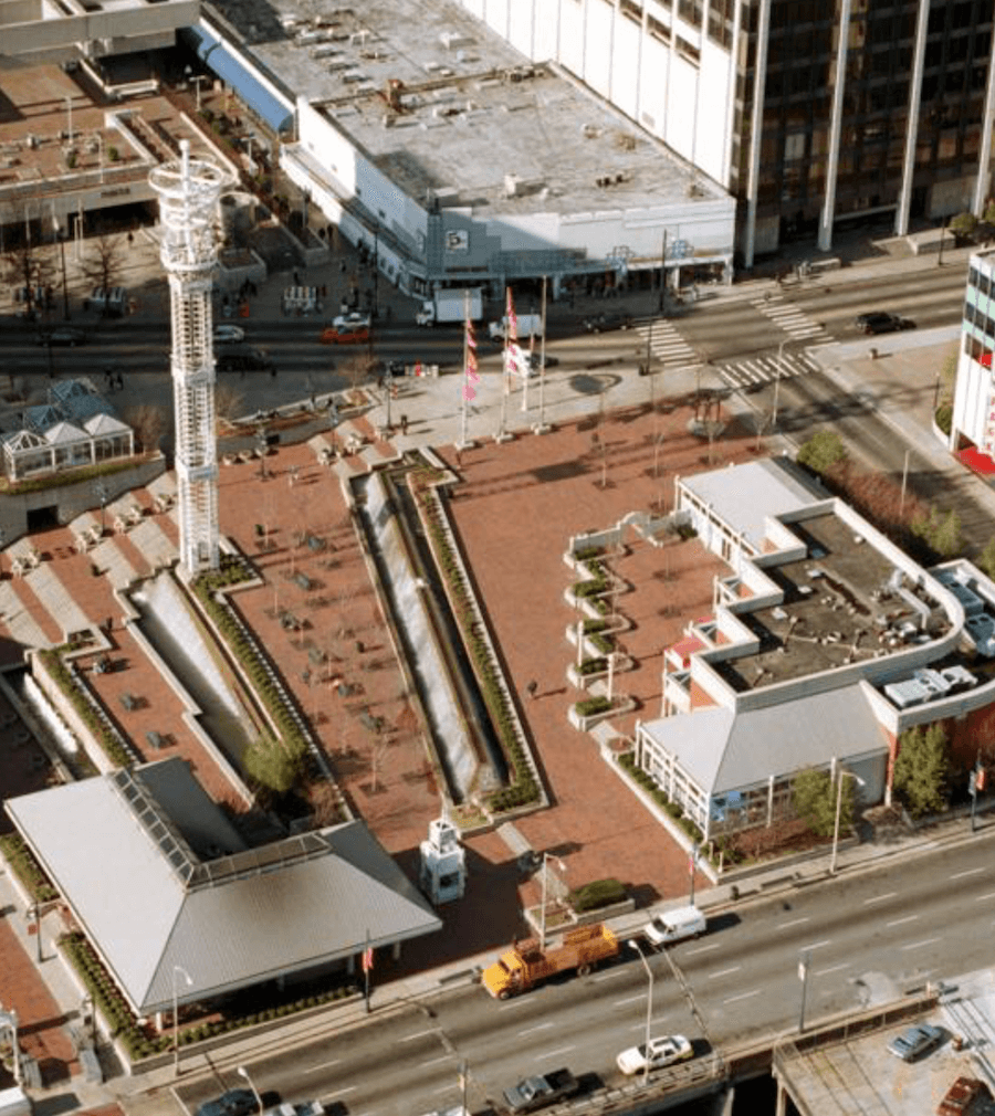 An ariel image of Underground Atlanta in the late 90's