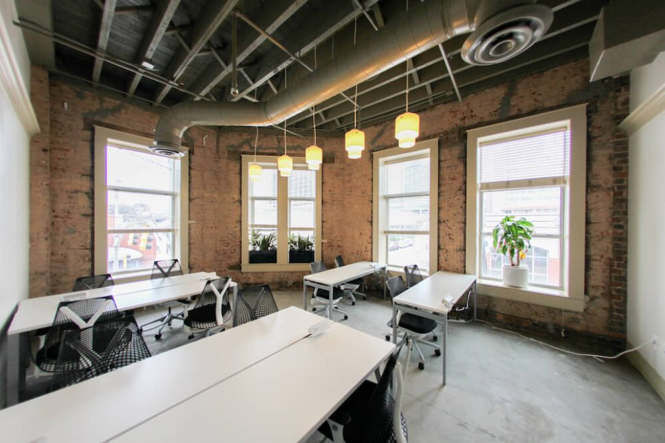 Interior shot of desks at co-working space at Underground