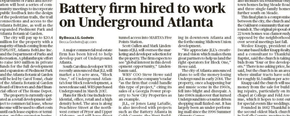Battery firm hired to work on Underground Atlanta